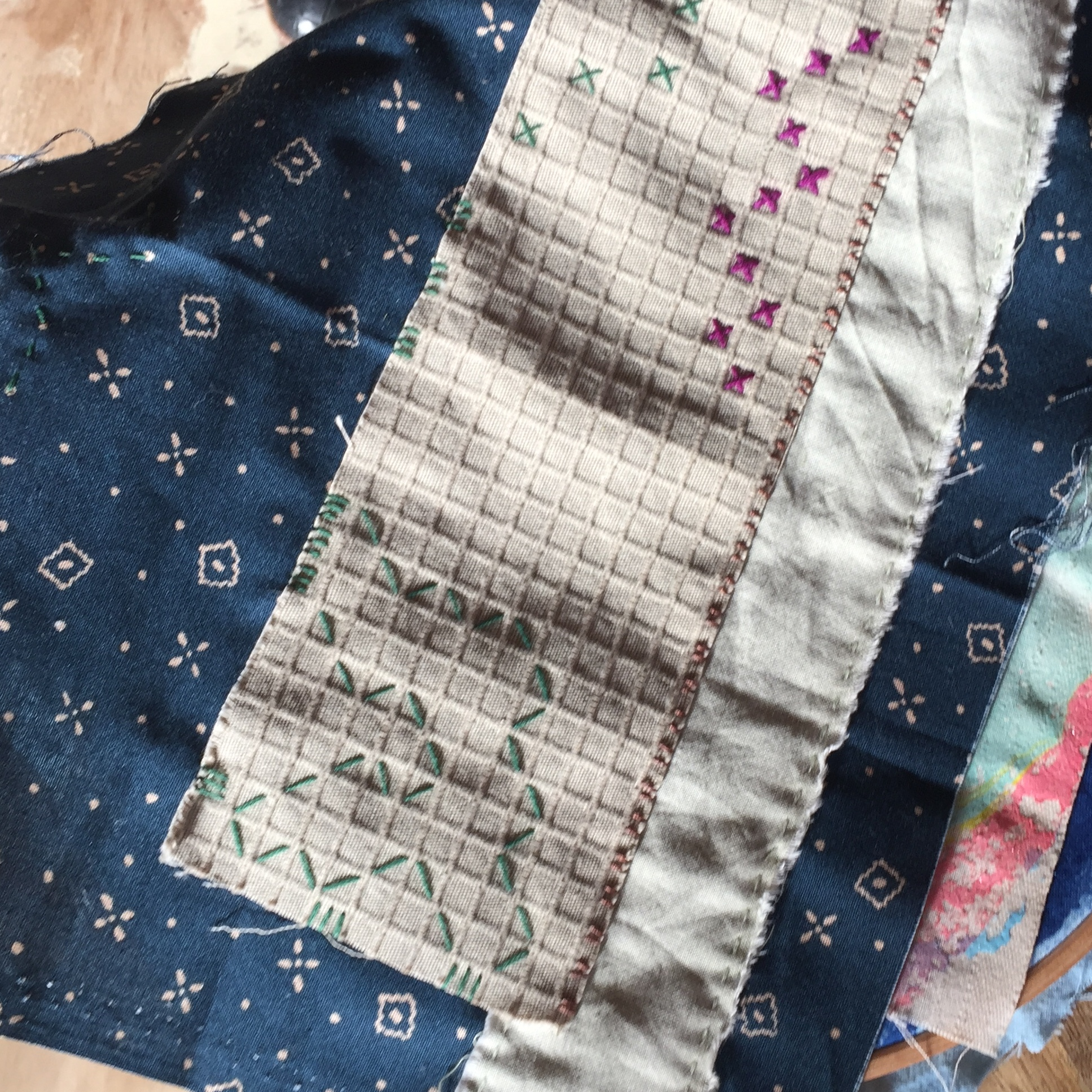cotton fabric collage slow stitching embroidery