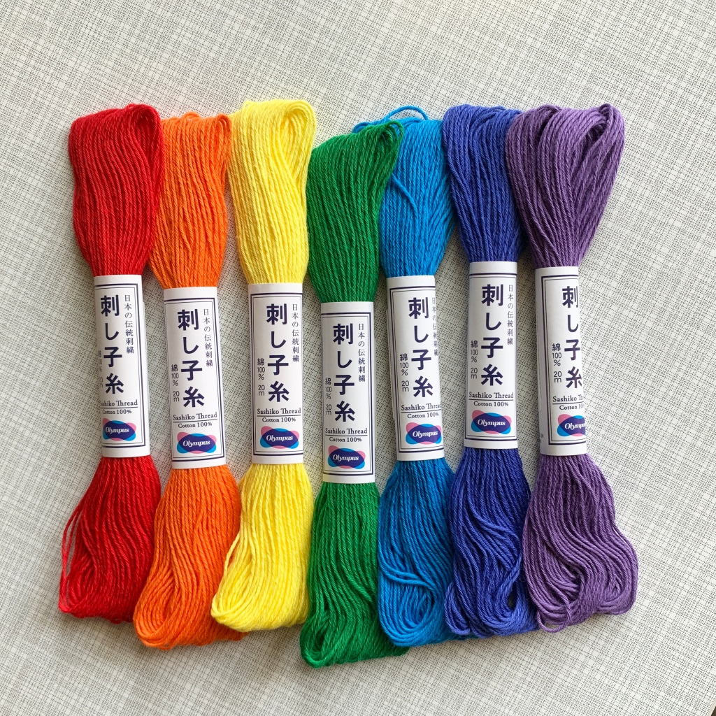 Rainbow colors set Olympus Sashiko threads 20 meters thread skeins. You can now buy this set of Japanese cotton hand sewing thread in the Handcraefter Etsy shop.